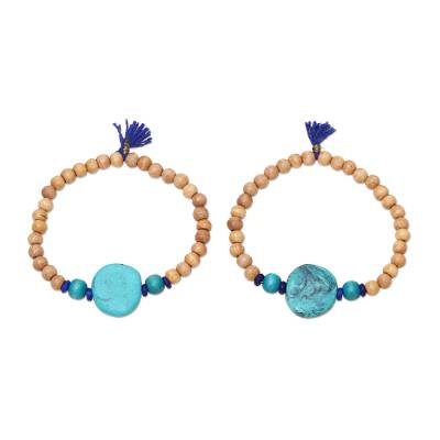 Blue Tassel Wood and Resin Beaded Stretch Bracelets (Pair)