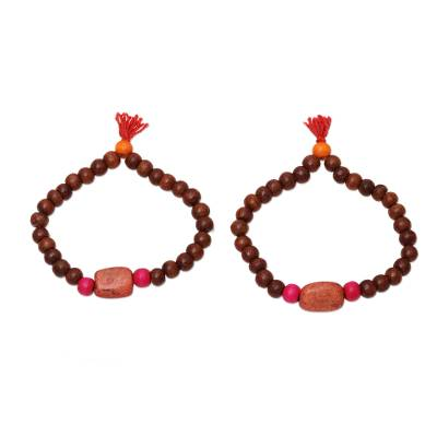 Wood and Orange Resin Beaded Stretch Bracelets (Pair)