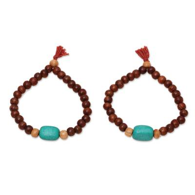 Wood and Resin Beaded Stretch Bracelets from India (Pair)