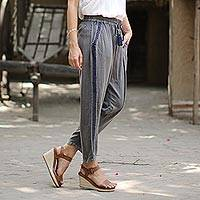 Viscose pants, 'Navy Sophistication' - Dusty Grey Viscose Pants with Navy Stripes from India