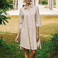 Cotton and linen blend tunic-style dress, 'Alabaster Bliss' - Embroidered Cotton and Linen Blend Tunic-Style Dress