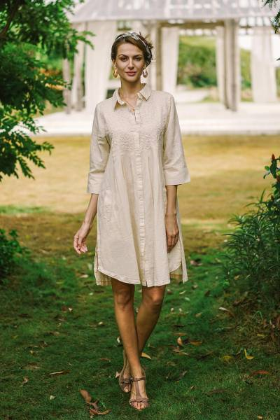 Cotton and linen blend shirt dress, 'Alabaster Bliss' - Embroidered Cotton and Linen Blend Shirt Dress