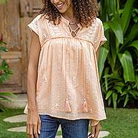 Cotton blend blouse, 'Peach Glory' - Embroidered Cotton Blend Blouse in Peach from India
