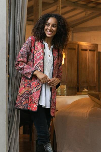 Cotton jacket, 'Blissful Variety' - Printed Cotton Jacket with Various Motifs from India