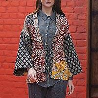 Cotton patchwork kimono jacket, 'Bohemian Masterpiece' - Patchwork Kimono-Style Jacket from India