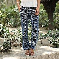 Block-printed cotton pants, 'Steps' - Zigzag Block-Printed Cotton Pants from India