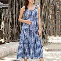 Cotton sundress, 'Indian Indigo' - Diamond Motif Printed Cotton Sundress from India