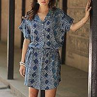 Block-printed cotton shirtdress, 'Indigo Zigzags' - Block-Printed Cotton Shirtdress in Indigo from India