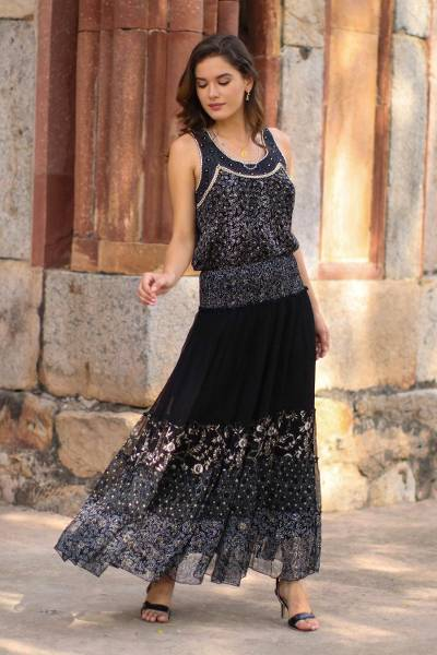 Block-printed viscose chiffon maxi skirt, 'Midnight Glory' - Floral Block-Printed Viscose Maxi Skirt from India