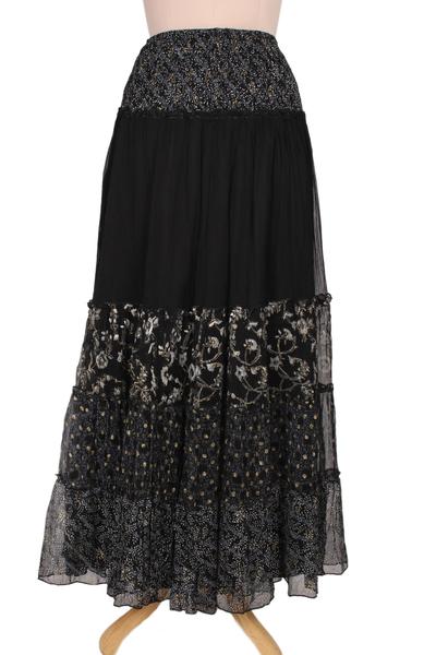 Floral Block-Printed Viscose Maxi Skirt from India
