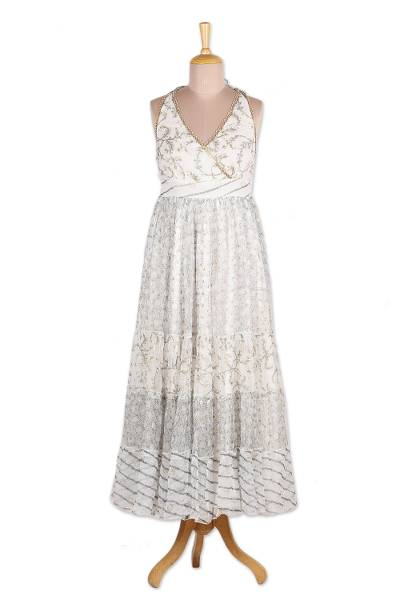 Block-Printed White Cotton A-Line Dress from Bali