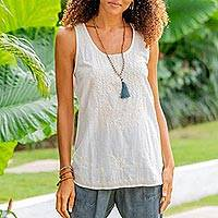 Cotton embroidered tank top 'Casual Elegance'