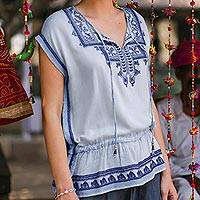 Embroidered viscose blouse, 'Jaipur Chic' - Light Blue Embroidered Viscose Blouse