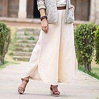 Cotton and linen blend wide-leg pants, 'Lucknow Dreams' - Wide Legged Cotton and Linen Blend Pants in Parchment