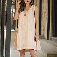 Cotton sundress, 'Glorious Peach' - Short Cotton Lined Peach Dress with Hand Embroidery