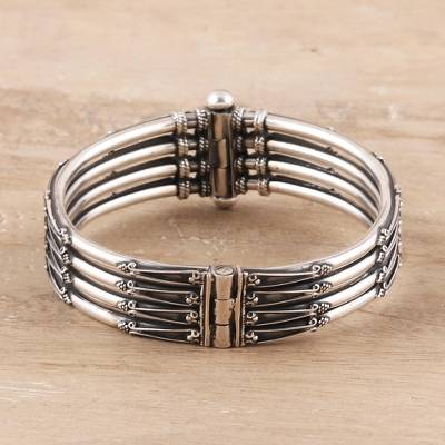 Sterling silver bangle bracelet, 'Timeless Jaipur' - Sterling Silver Bracelet with Three Bangles from India