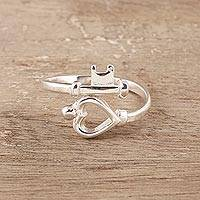 Sterling silver band ring, 'Key to My Love' - Sterling Silver Heart Key Band Ring from India