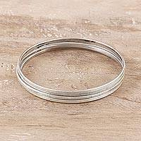 Sterling silver bangle bracelets, 'Fascinating Connection' (set of 4)