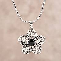 Onyx pendant necklace, 'Delightful Midnight'