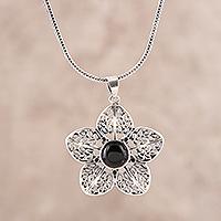 Onyx pendant necklace, 'Delightful Midnight' - Floral Onyx Pendant Necklace from India