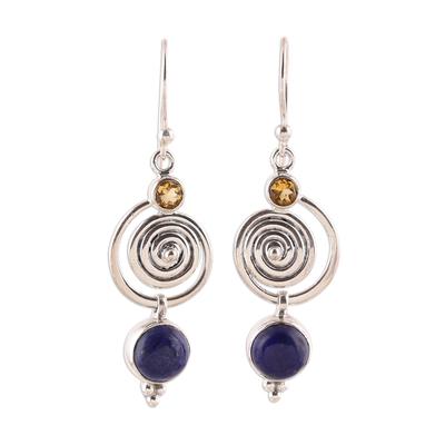 Swirl Pattern Lapis Lazuli and Citrine Dangle Earrings