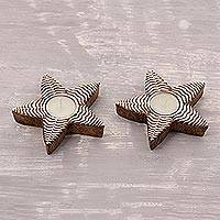 Mango wood tealight holders, 'Ferny Stars' (pair) - Fern Pattern Star Mango Wood Tealight Holders (Pair)