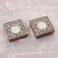 Mango wood tealight holders, 'Square Blocks' (pair) - Square Whitewashed Mango Wood Tealight Holders (Pair)