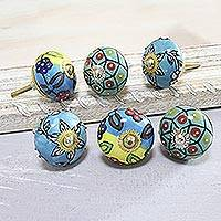 Ceramic knobs, 'Charming Globes' (set of 6) - Vibrant Floral Ceramic Knobs from India (Set of 6)
