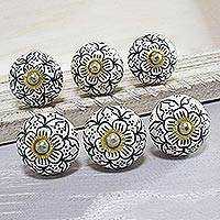 Ceramic knobs, 'Intricate Blossoms' (set of 6) - Black and White Floral Ceramic Knobs from India (Set of 6)