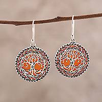Carnelian dangle earrings, 'Tree Grandeur' - Tree Pattern Carnelian Dangle Earrings from India