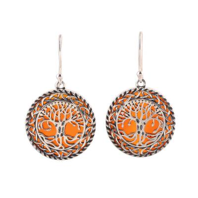 Carnelian dangle earrings, 'Tree Grandeur' - Tree Pattern Carnelian Dangle Earrings from India