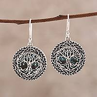 Sterling silver dangle earrings, 'Tree Grandeur' - Tree Pattern Sterling Silver Dangle Earrings from India