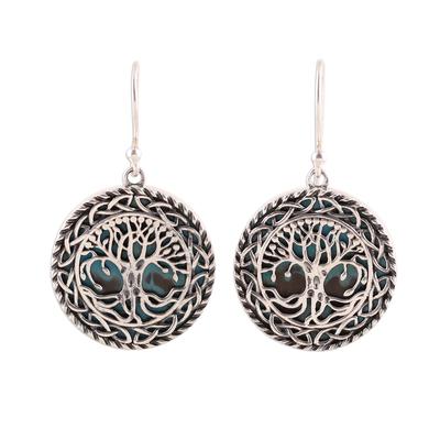 Sterling silver dangle earrings, 'Tree Grandeur' - Tree Pattern Sterling Silver Dangle Earrings from India