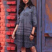 Block-printed cotton shirtdress, 'Dusky Elegance' - Block-Printed Cotton Shirtdress from India