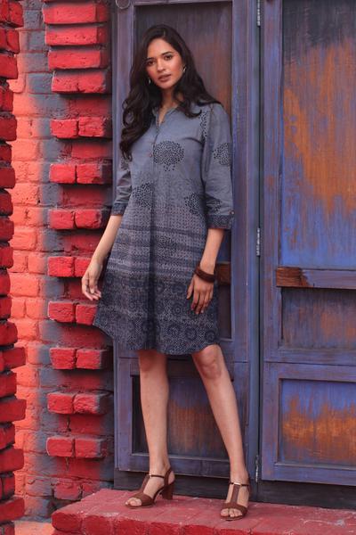 Block-printed cotton shirtdress, 'Dusky Elegance' - Block-Printed Cotton Shirtdress from India