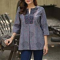 Block printed cotton tunic, 'Grey Elegance' - Cotton Tunic Block Print Black, Grey, and Red with V-Neck