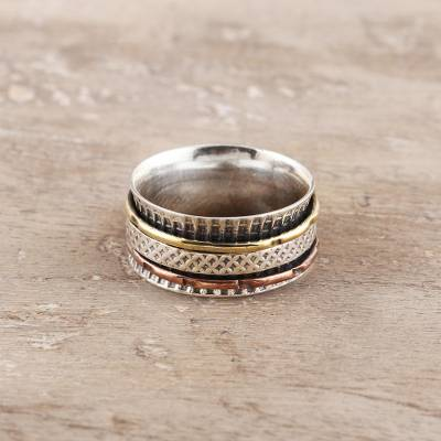 Sterling silver spinner ring, 'Rotating Unity' - Patterned Sterling Silver Spinner Ring from India