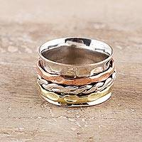 Sterling silver spinner ring, 'Rotating Twist' - Twist Pattern Sterling Silver Spinner Ring from India