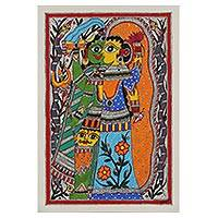 Madhubani painting, 'Ardhnareshwar - The Divine Union' - Shiva and Parvati Hindu Madhubani Painting from India