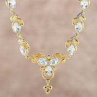 Gold plated blue topaz pendant necklace, 'Azure Glitter' - Gold Plated 15-Carat Blue Topaz Link Necklace from India