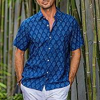 Mens block-printed cotton shirt, Indigo Joy