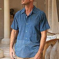 Men's block-printed cotton shirt, 'Handsome Stripes' - Men's Block-Printed Cotton Shirt Crafted in India