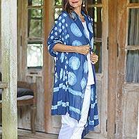 Block-printed cotton shawl, 'Indigo Bubbles' - Bubble Motif Block-Printed Cotton Shawl from India