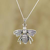 Sterling silver pendant necklace, 'Humming Bee'
