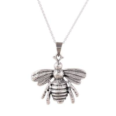 Sterling silver pendant necklace, 'Humming Bee' - Sterling Silver Bee Pendant Necklace from India