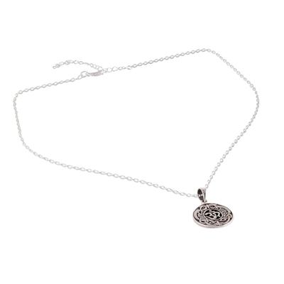 Sterling silver pendant necklace, 'Om Pattern' - Celtic Om Sterling Silver Pendant Necklace from India
