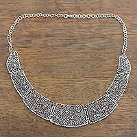 Sterling silver statement necklace, 'Magnificent Trellis' - Floral Sterling Silver Statement Link Necklace from India