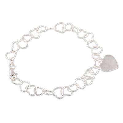 Heart-Shaped Sterling Silver Link Bracelet from India