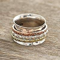 Sterling silver spinner ring, 'Mesmerizing Triple' - Textured Sterling Silver Spinner Ring from India