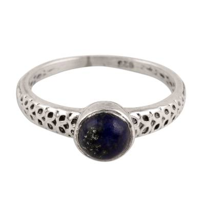 Lapis Lazuli Solitaire Ring Crafted in India